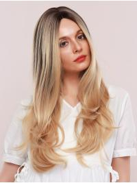 Shiny Blonde Wig with Dark Brown Highlights Long Wave Synthetic Wig Middle Parting Heat Resistant Hair Wig for Women Girls