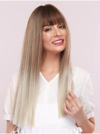 Ombre Platinum Blonde Wig with Dark Brown Roots Long Straight Synthetic Wig with Bangs Heat Resistant Hair Wig for Women Girls