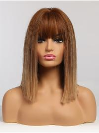 Straight Blonde Wig Shoulder Length Bob with Bangs Synthetic Ombre Wig Resistant Hair Wig for Women Daily Wear