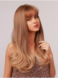 18 Inches Light Brown to Blonde Wig with Bangs Straight Ombre Heat Resistant Synthetic Wigs Women Daily Wear