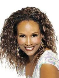 Beverly Johnson Natural-looking mid-length bouncy deep-curl full lace human hair wig 14 inches