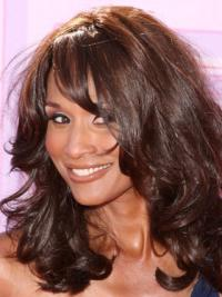 Beverly Johnson Classy Mid-length Wavy Lace Front Human Hair Wig with Bangs