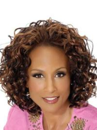 Beverly Johnson Fun and Trendy Mid-length Curly Lace Human Hair Wig