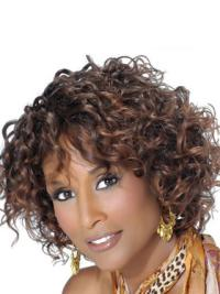 Beverly Johnson Classic Short Voluminous Curly Lace Front Human Hair Wigs with Bangs