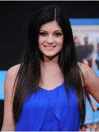 Without Bangs Remy Human Hair Black Capless Kylie Jenner Wigs