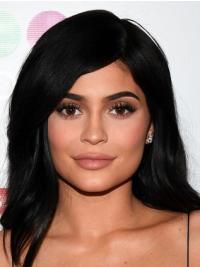 """Full Lace Black 12"""" Straight Remy Human Hair Kylie Jenner Wigs"""