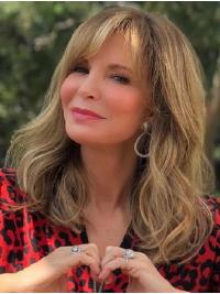 Wavy Blonde Shoulder Length Synthetic Capless With Bangs Jaclyn Smith Wigs