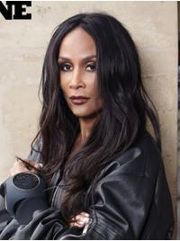"""Long 18"""" Wavy Without Bangs Lace Front Beverly Johnson Wigs"""