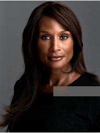 "Long 18"" Straight Without Bangs Lace Front Beverly Johnson Wigs"