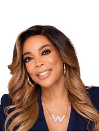 Lace Front Long Ombre/2 Tone Curly Without Bangs Wendy Williams Wigs