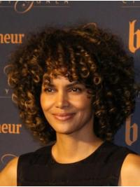Curly Brown Lace Front Chin Length Without Bangs Halle Berry Wigs