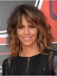 Wavy Brown Lace Front Shoulder Length With Bangs Halle Berry Wigs