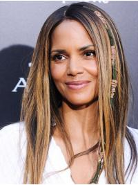 Straight Ombre/2 Tone Lace Front Long Without Bangs Halle Berry Wigs