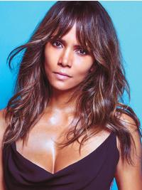 Straight Brown Capless Shoulder Length With Bangs Halle Berry Wigs
