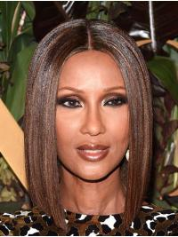 Straight Brown Capless Shoulder Length Bobs Iman Wigs