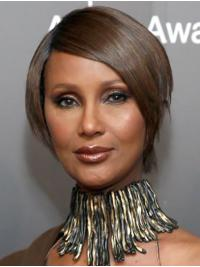 Straight Brown Lace Front Short Bobs Iman Wigs