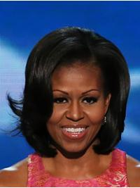 Wavy Black Lace Front Chin Length Bobs Michelle Obama Wigs