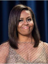 Straight Brown Full Lace Shoulder Length Without Bangs Michelle Obama Wigs