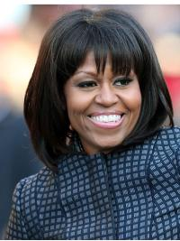 Straight Black Lace Front Chin Length With Bangs Michelle Obama Wigs