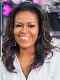 Wavy Black Full Lace Shoulder Length Without Bangs Michelle Obama Wigs