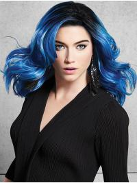 Shoulder Length Great Blue Synthetic Without Bangs Lace Front Wigs