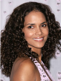 Halle Berry Long Kinky Curly Lace Human Hair Wig 16 Inches