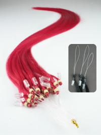 Preferential Red Straight Remy Human Hair Hair Extensions Micro Loop Ring