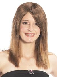 Refined Brown Straight Long Human Hair Hairpieces