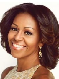 Michelle Obama Medium Wavy Wigs Lace Front Wigs
