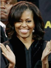 Side-Parted Medium Curls Wig First Lady Michelle Obama Wigs