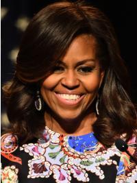 Shoulder Length Wavy Lace Front Michelle Obama Wigs