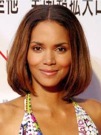 Halle Berry Simple Beauty Mid-length Straight Classic Full Lace Human Hair Bob Wig 12 Inches