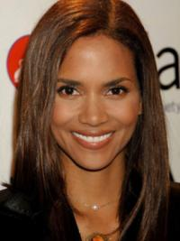 Halle Berry Simple Long Layered Straight Lace Human Hair Wig 14 Inches