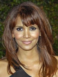 Halle Berry Elegant and Stylish and Feminine Mid-length Straight Full Lace Human Hair Wig 16 Inches with Bangs