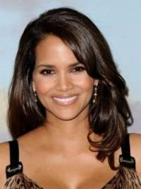 ff2ee0709 Halle Berry Feminine and Intellectual Long Layered Wavy Lace Front Human  Hair Wig 16 Inches