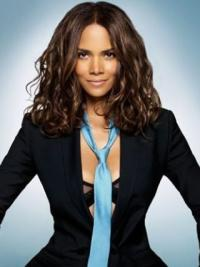 Halle Berry Glam and Sophisticated Mid-length Wavy Glueless Lace Front Human Hair Wig 14 inches
