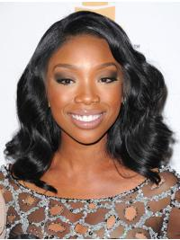 Shining Black Wavy Shoulder Length Jennifer Hudson Wigs