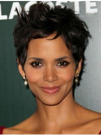 Popular Black Wavy Cropped Halle Berry Wigs