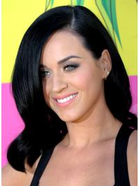Sassy Black Wavy Shoulder Length Katy Perry Wigs