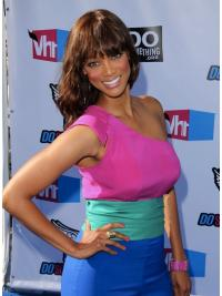 Ideal Auburn Wavy Shoulder Length Tyra Banks Wigs