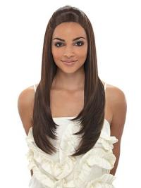 Perfect Brown Straight Long African American Wigs