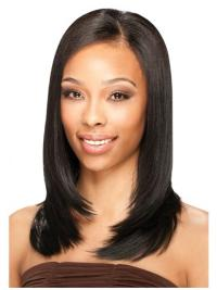 Polite Black Straight Shoulder Length U Part Wigs