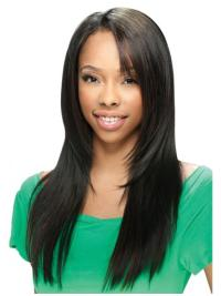 Elegant Black Straight Long U Part Wigs
