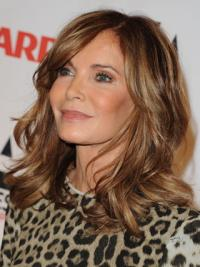 Jacklyn Smith Carefree and Fashionable Shoulder-length Wavy Layered Lace Front Human Hair Wig