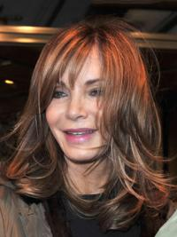 Jacklyn Smith Mid-length Layered Straight Full Lace Human Hair Wig with Wispy Bangs