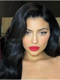 "Long Black 16"" Capless Best Wavy Synthetic Kylie Jenner Wigs"