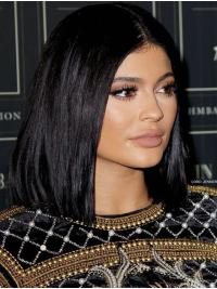"""22"""" Straight Black Synthetic Lace Front Stylish Kylie Jenner Wigs"""