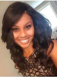 """Remy Human Hair 17"""" With Bangs Black Wavy 360 Lace Wigs"""