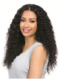 "Black Curly 18"" Without Bangs Remy Human Hair 360 Lace Wigs"