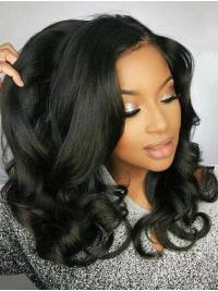 "Black Wavy 18"" Without Bangs Remy Human Hair 360 Lace Wigs"